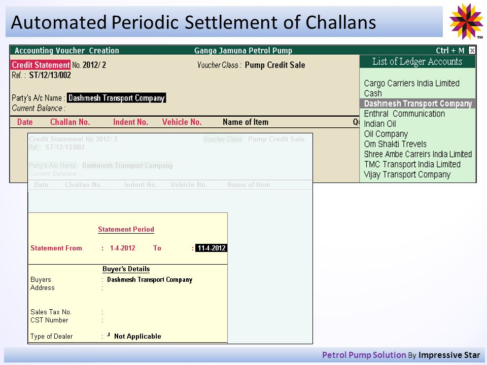 Automated Periodic Settlement of Challans