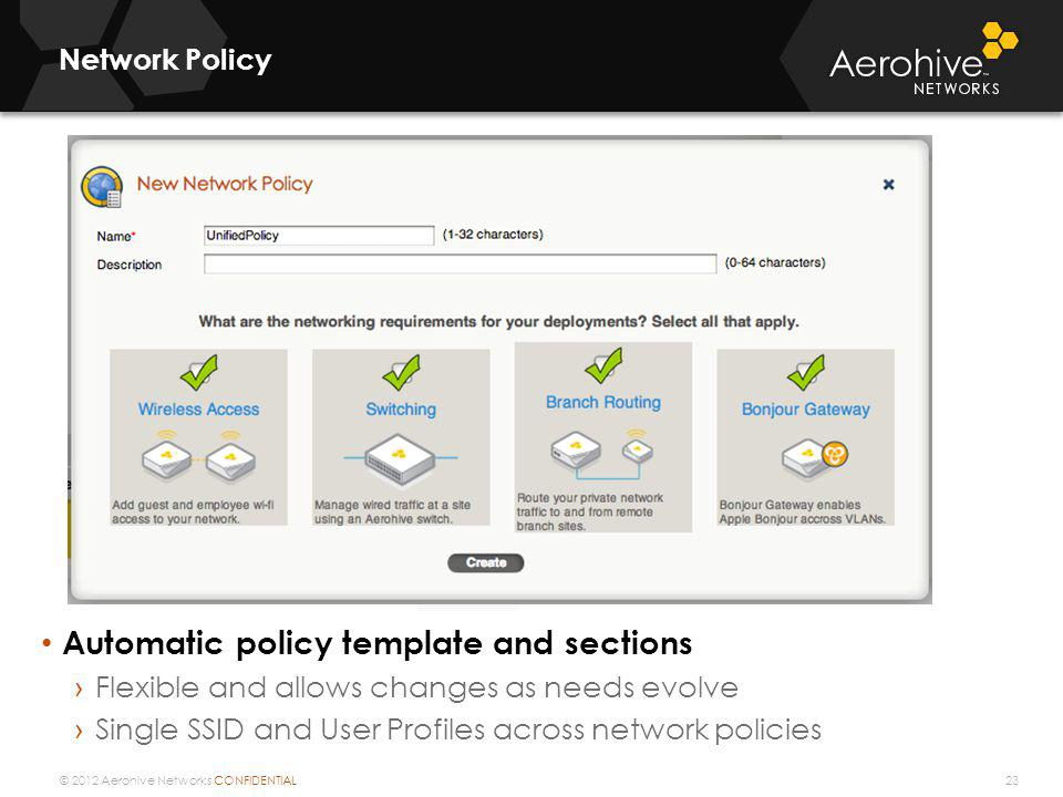 Automatic policy template and sections