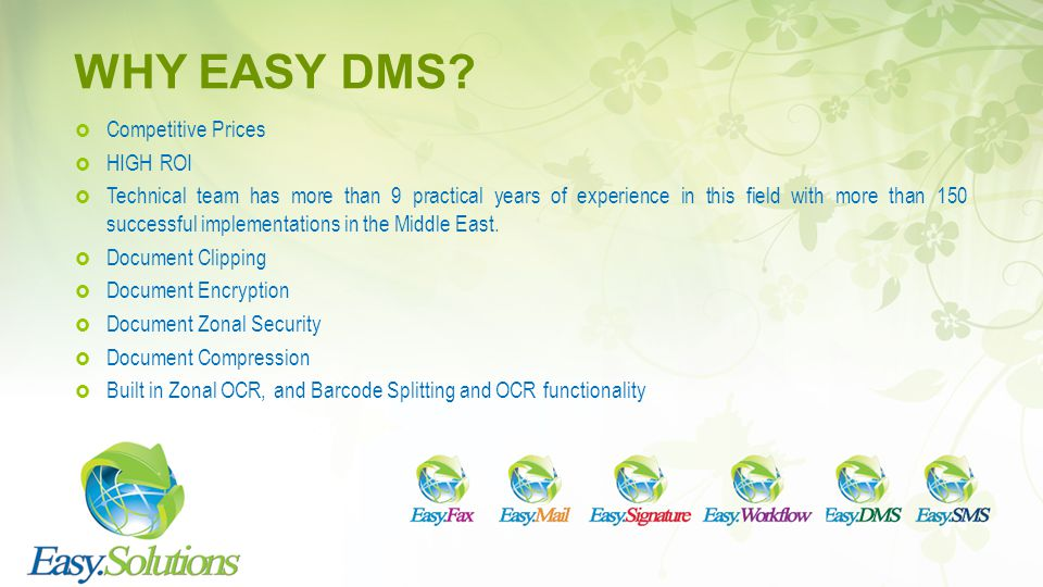 WHY EASY DMS Competitive Prices HIGH ROI