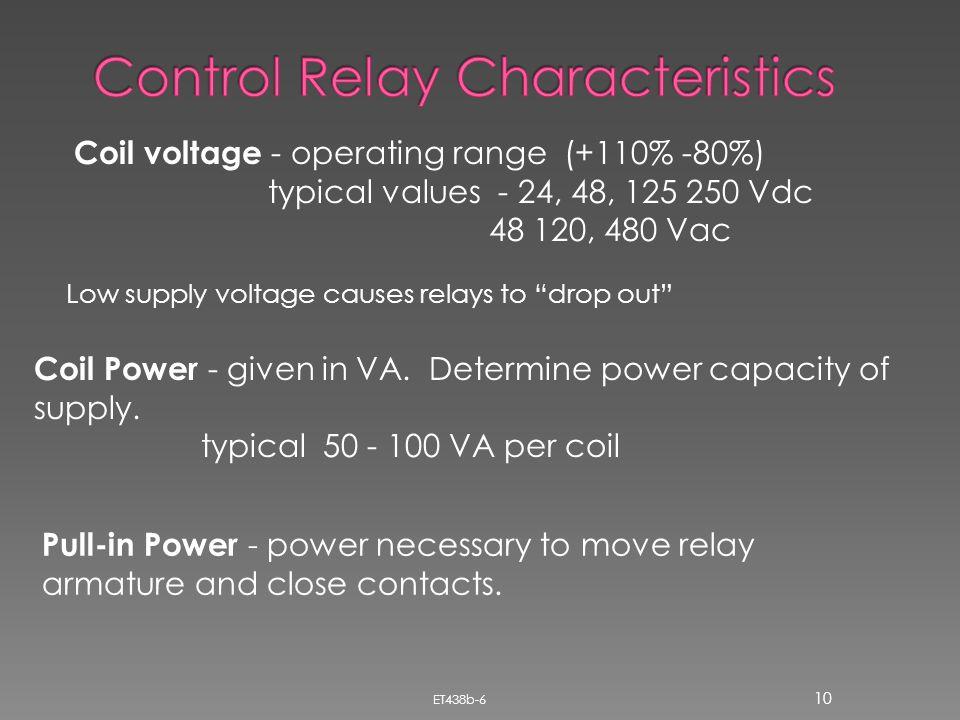 Control Relay Characteristics