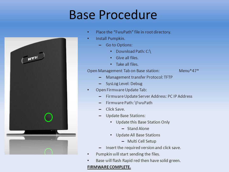 Base Procedure Place the FwuPath file in root directory.