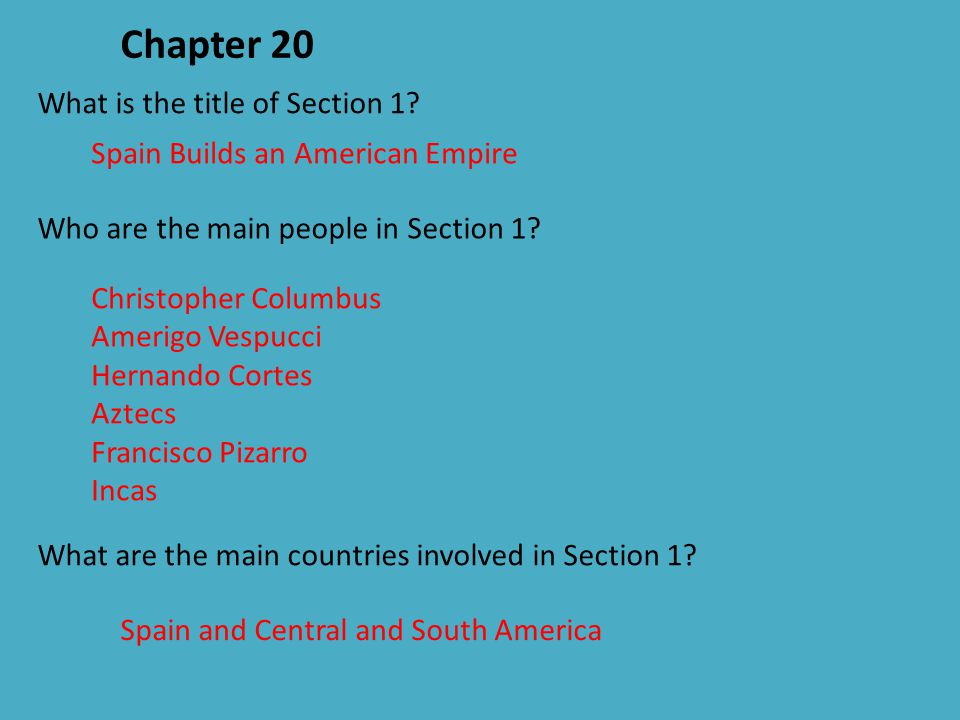 Chapter 20 What is the title of Section 1