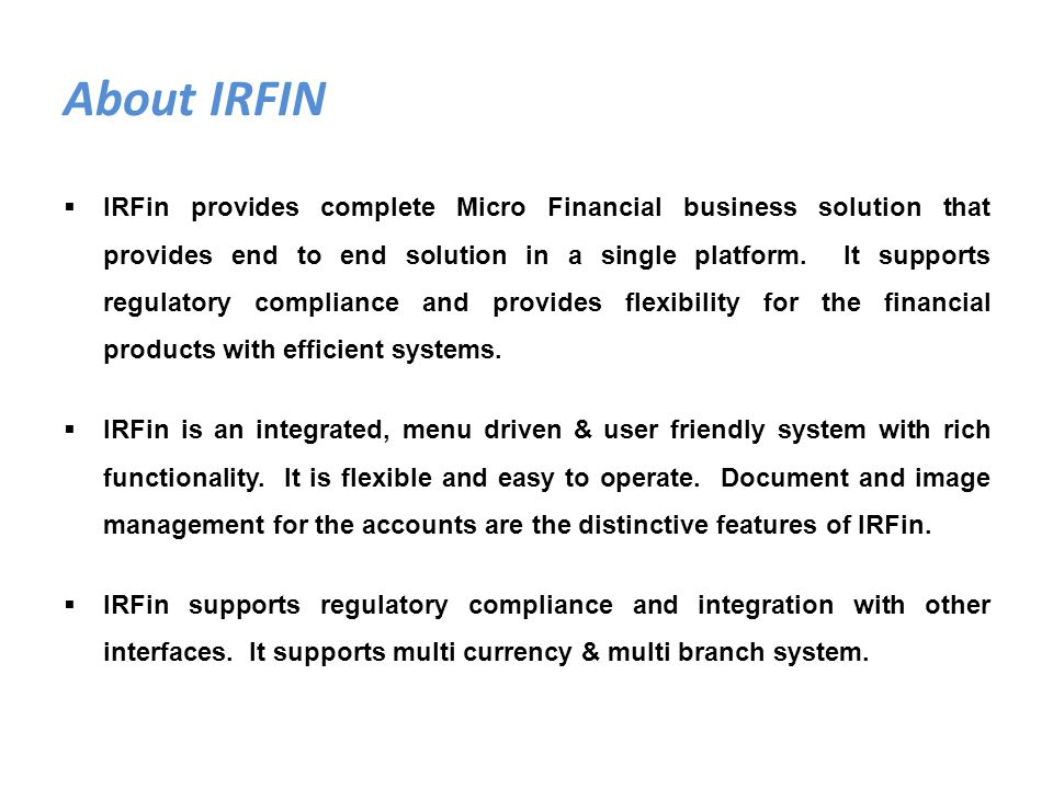 About IRFIN