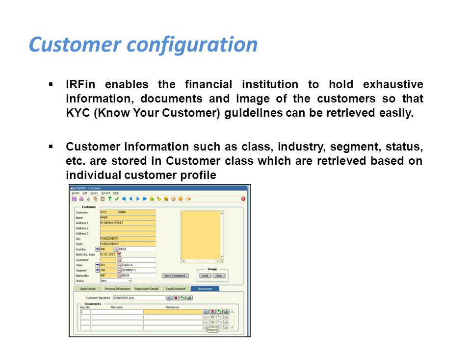 Customer configuration