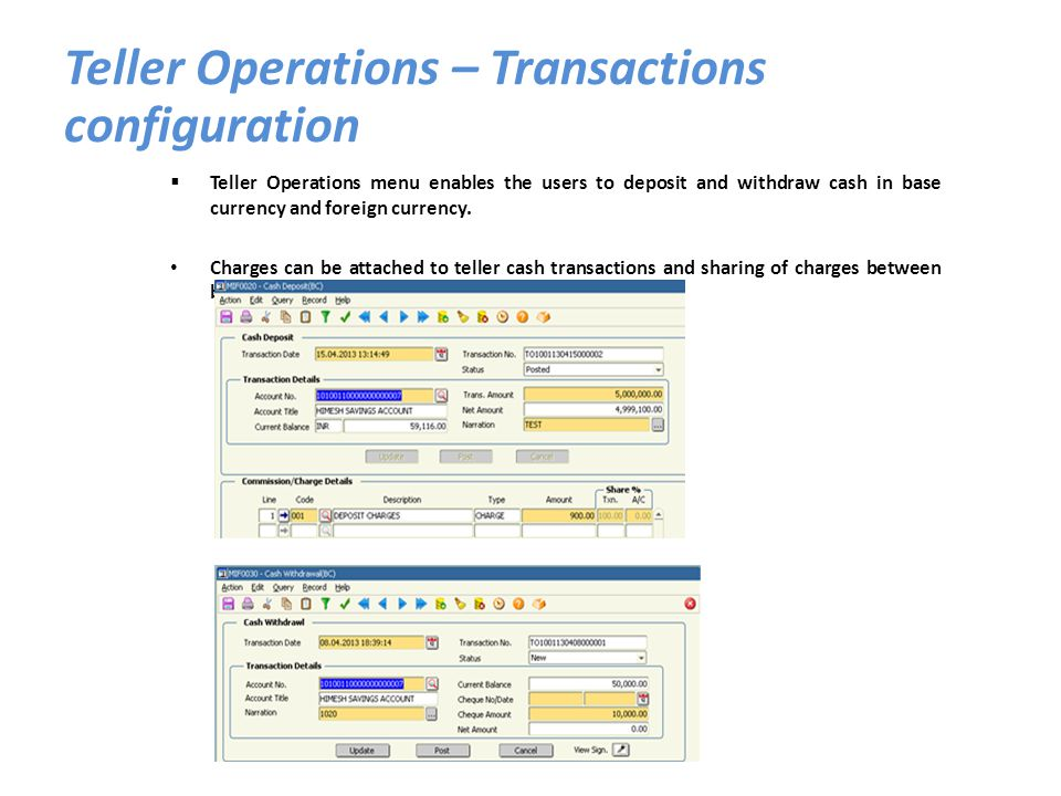 Teller Operations – Transactions configuration