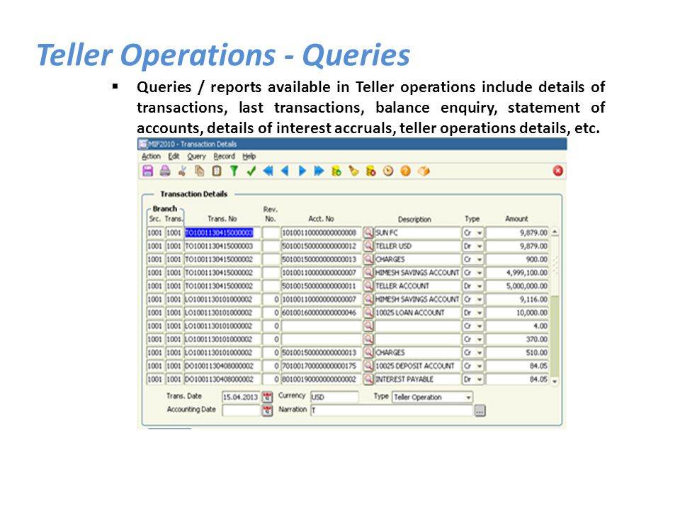 Teller Operations - Queries