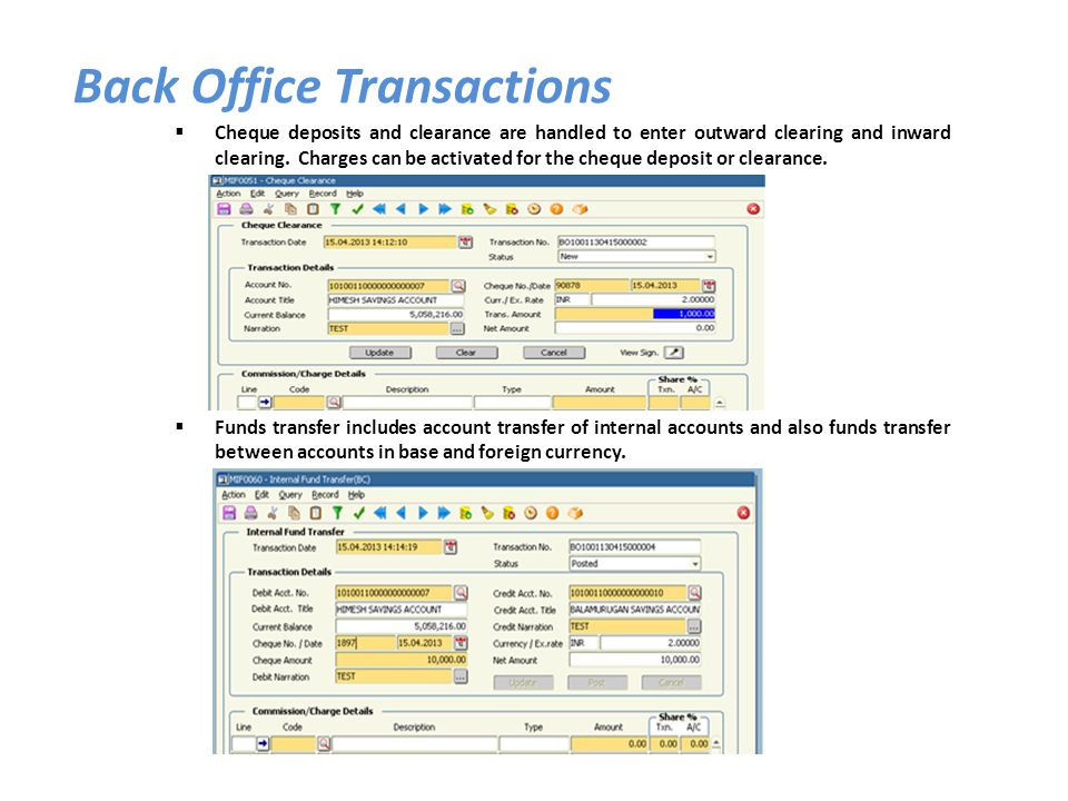 Back Office Transactions