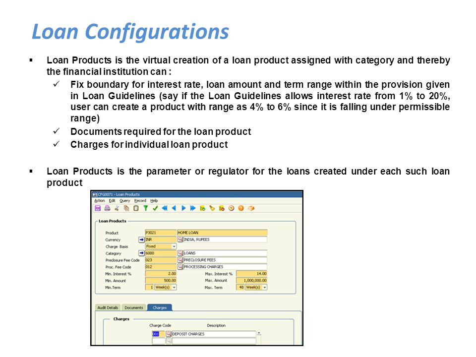 Loan Configurations Loan Products is the virtual creation of a loan product assigned with category and thereby the financial institution can :