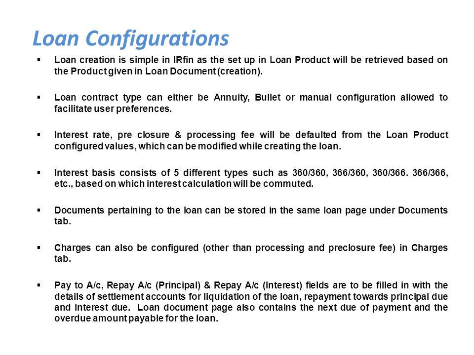 Loan Configurations