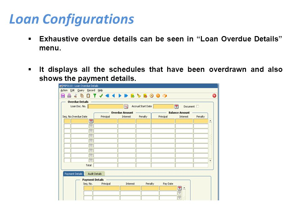 Exhaustive overdue details can be seen in Loan Overdue Details menu.