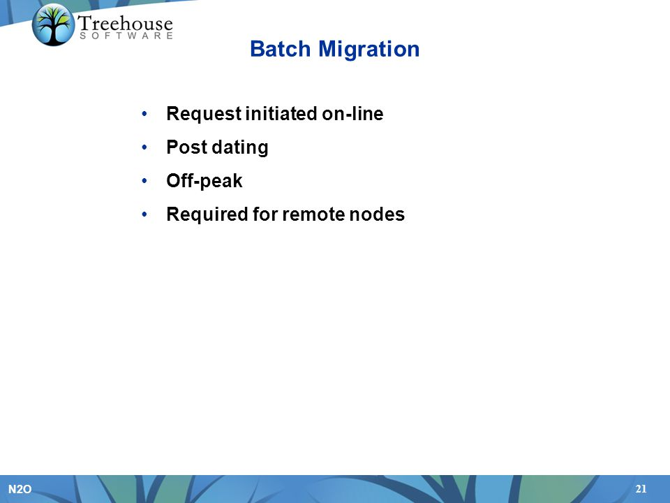 Batch Migration Request initiated on-line Post dating Off-peak