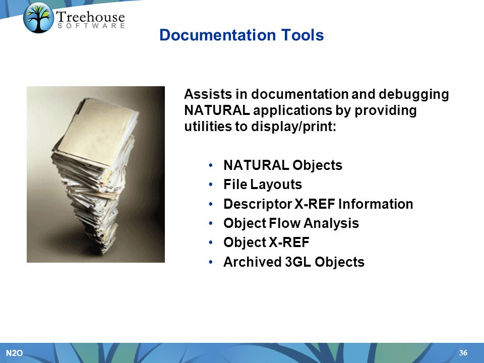 Documentation Tools Assists in documentation and debugging NATURAL applications by providing utilities to display/print: