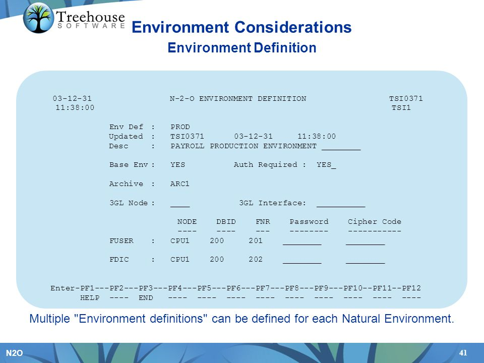 Environment Considerations Environment Definition