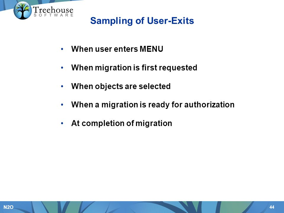 Sampling of User-Exits