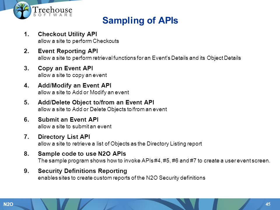 Sampling of APIs Checkout Utility API allow a site to perform Checkouts.