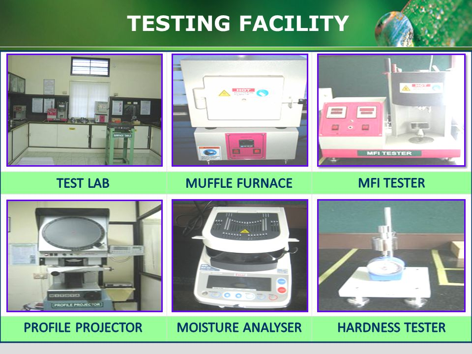 TESTING FACILITY TEST LAB MUFFLE FURNACE MFI TESTER PROFILE PROJECTOR