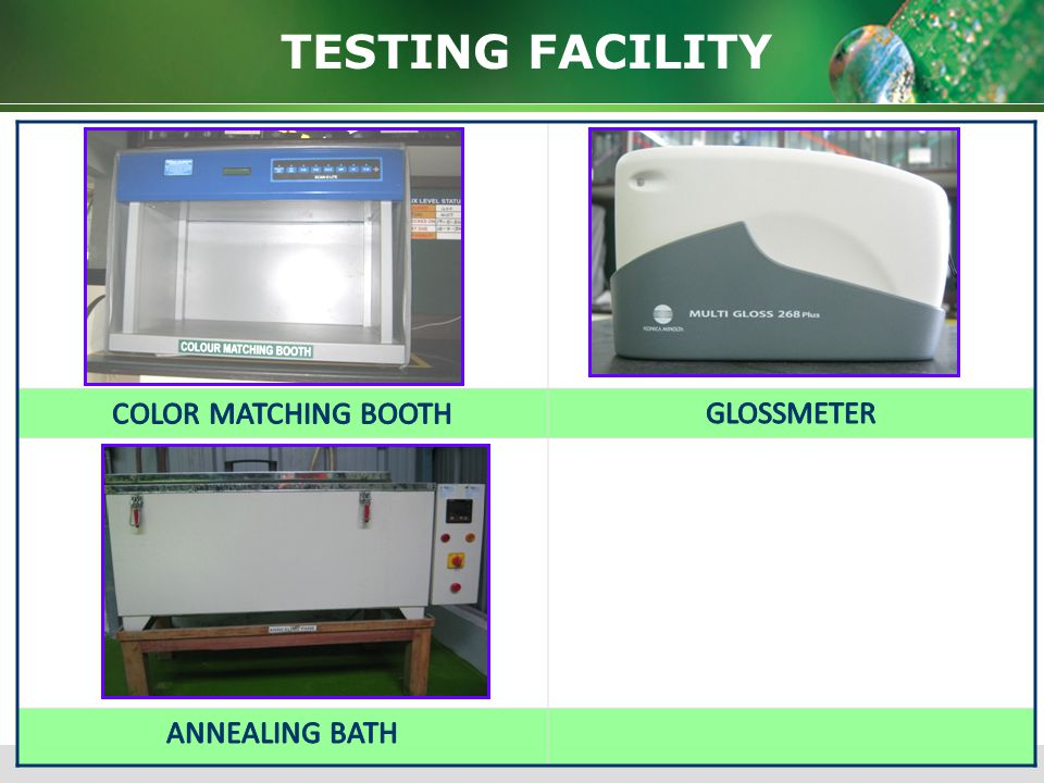 TESTING FACILITY COLOR MATCHING BOOTH GLOSSMETER ANNEALING BATH