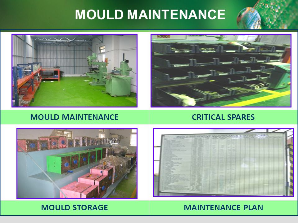 MOULD MAINTENANCE MOULD MAINTENANCE CRITICAL SPARES MOULD STORAGE