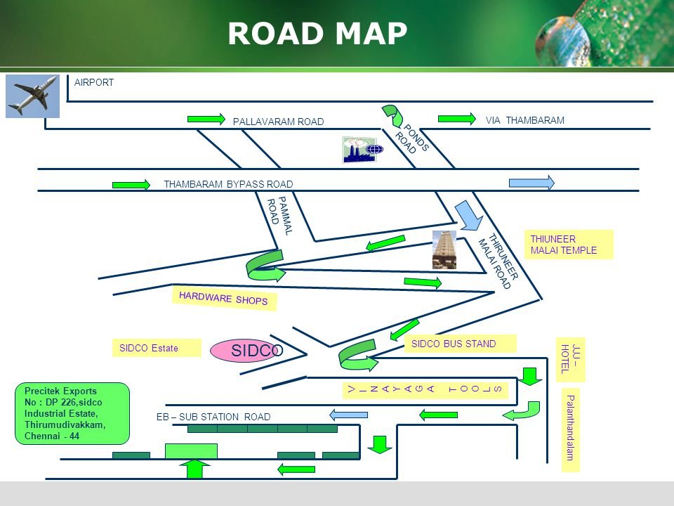 ROAD MAP SIDCO AIRPORT PALLAVARAM ROAD VIA THAMBARAM PONDS ROAD