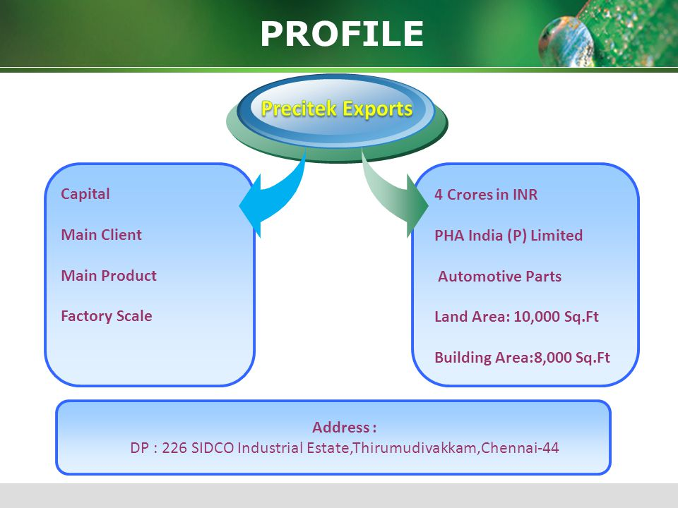 DP : 226 SIDCO Industrial Estate,Thirumudivakkam,Chennai-44