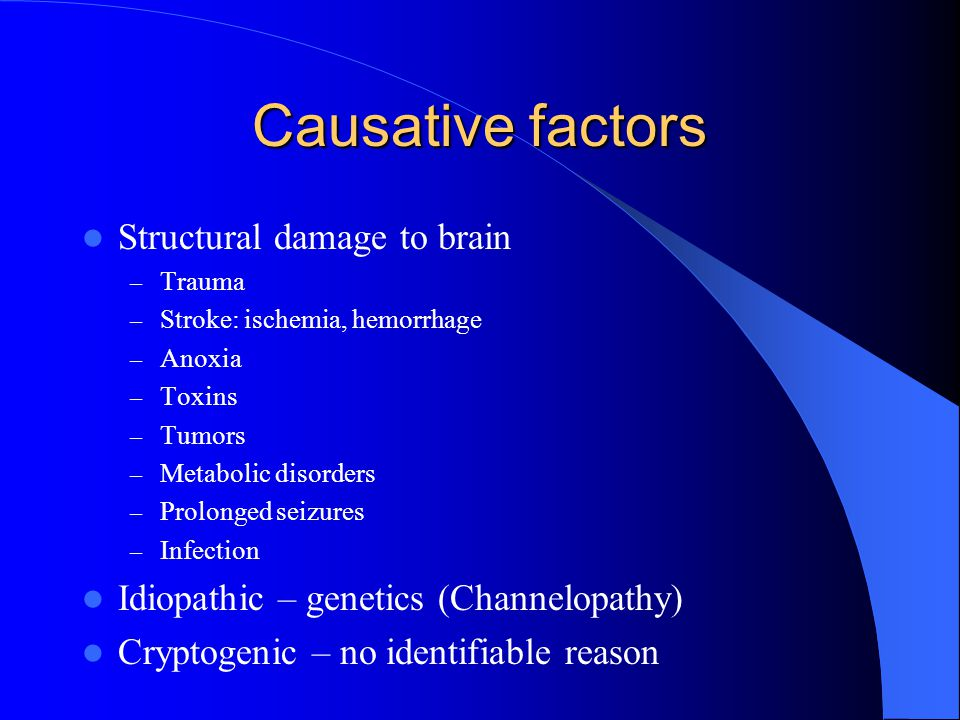 Causative factors Structural damage to brain