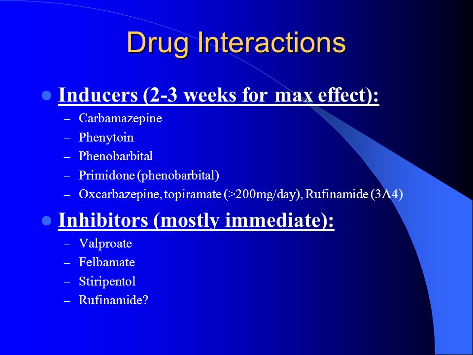 Drug Interactions Inducers (2-3 weeks for max effect):