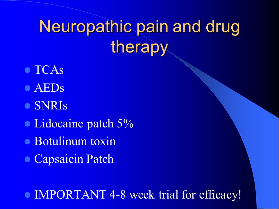 Neuropathic pain and drug therapy