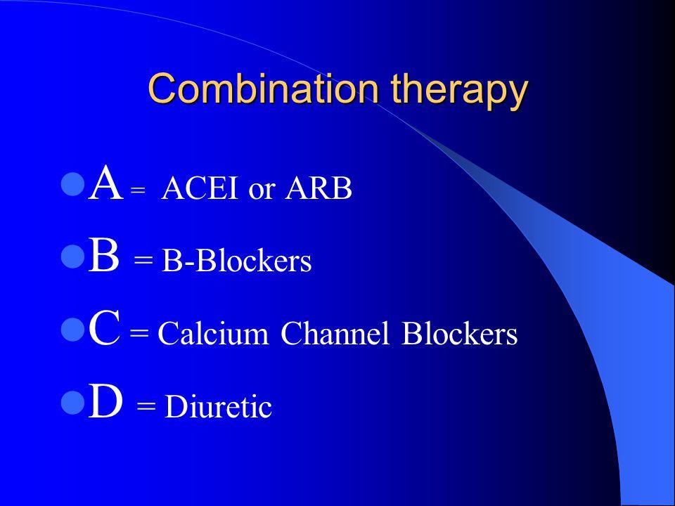 C = Calcium Channel Blockers D = Diuretic