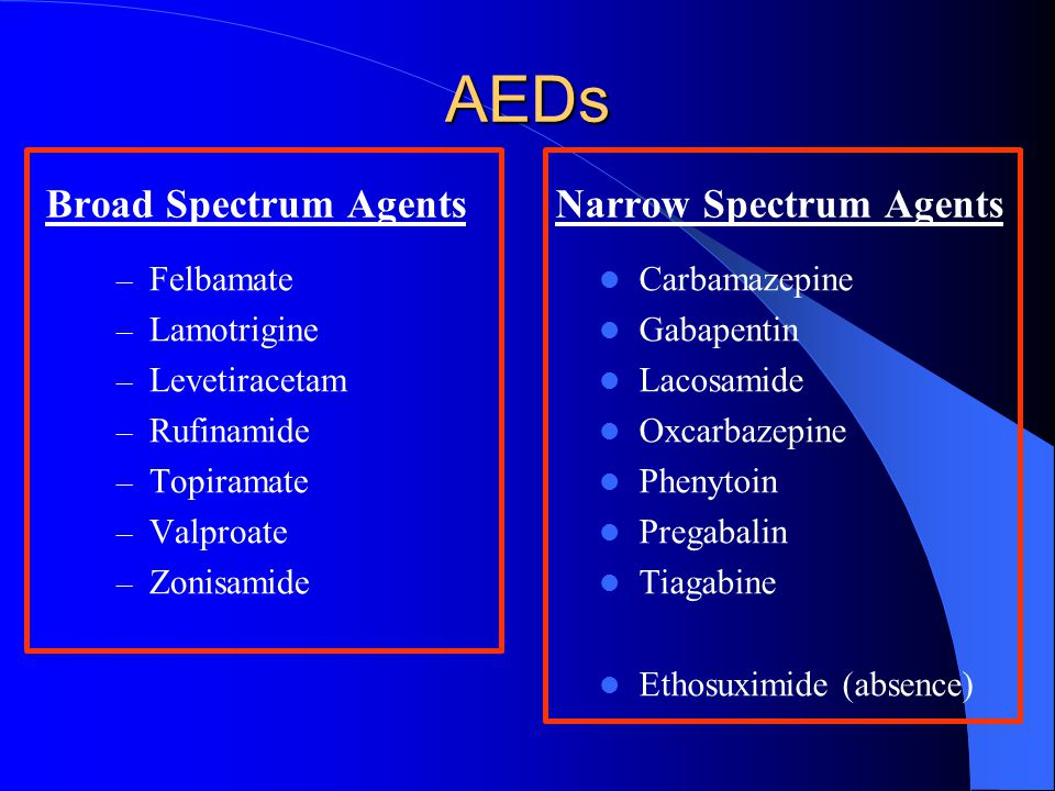 AEDs Broad Spectrum Agents Narrow Spectrum Agents Felbamate