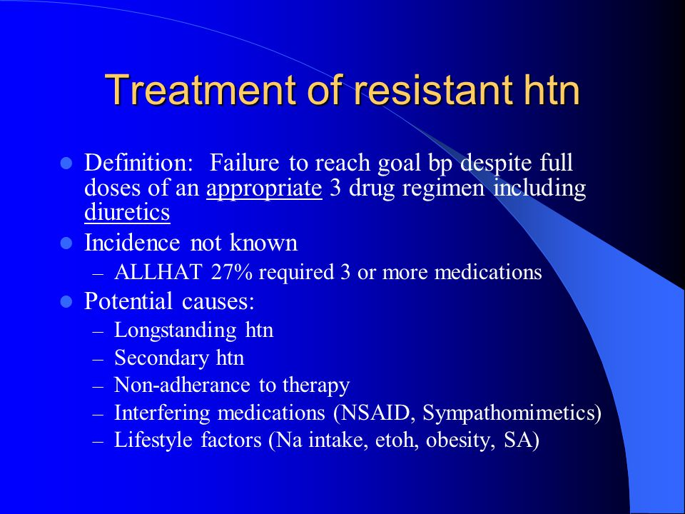 Treatment of resistant htn