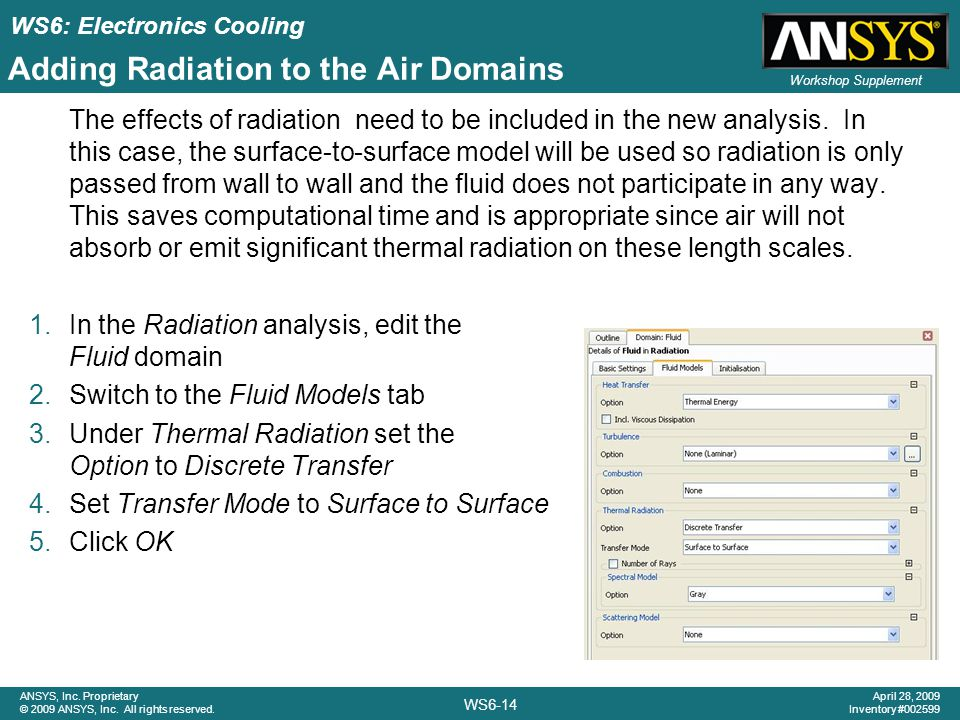 Adding Radiation to the Air Domains