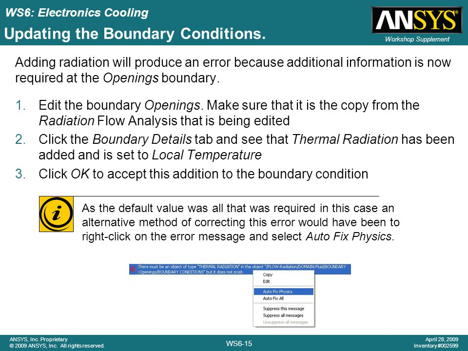 Updating the Boundary Conditions.