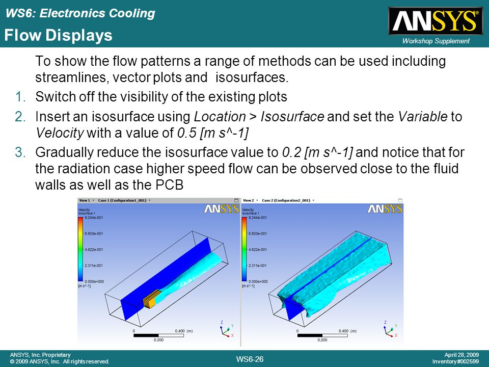 Flow Displays To show the flow patterns a range of methods can be used including streamlines, vector plots and isosurfaces.