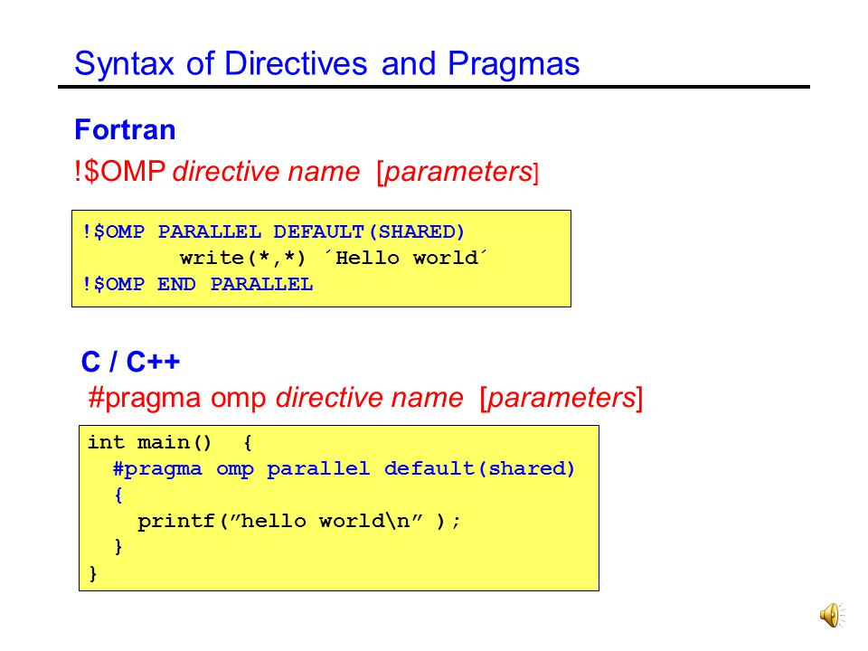 Syntax of Directives and Pragmas