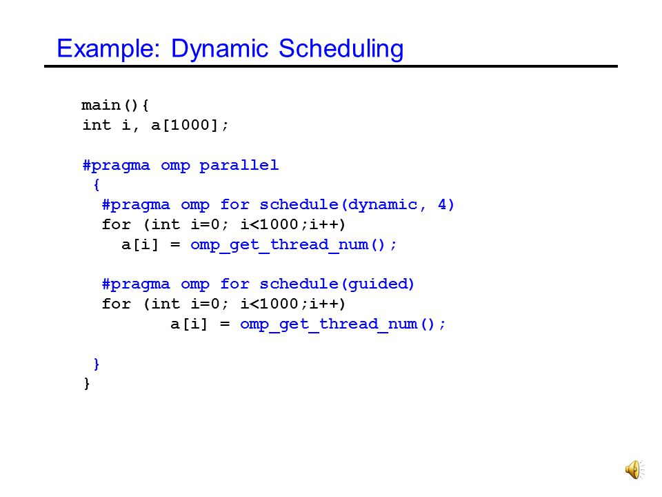 Example: Dynamic Scheduling