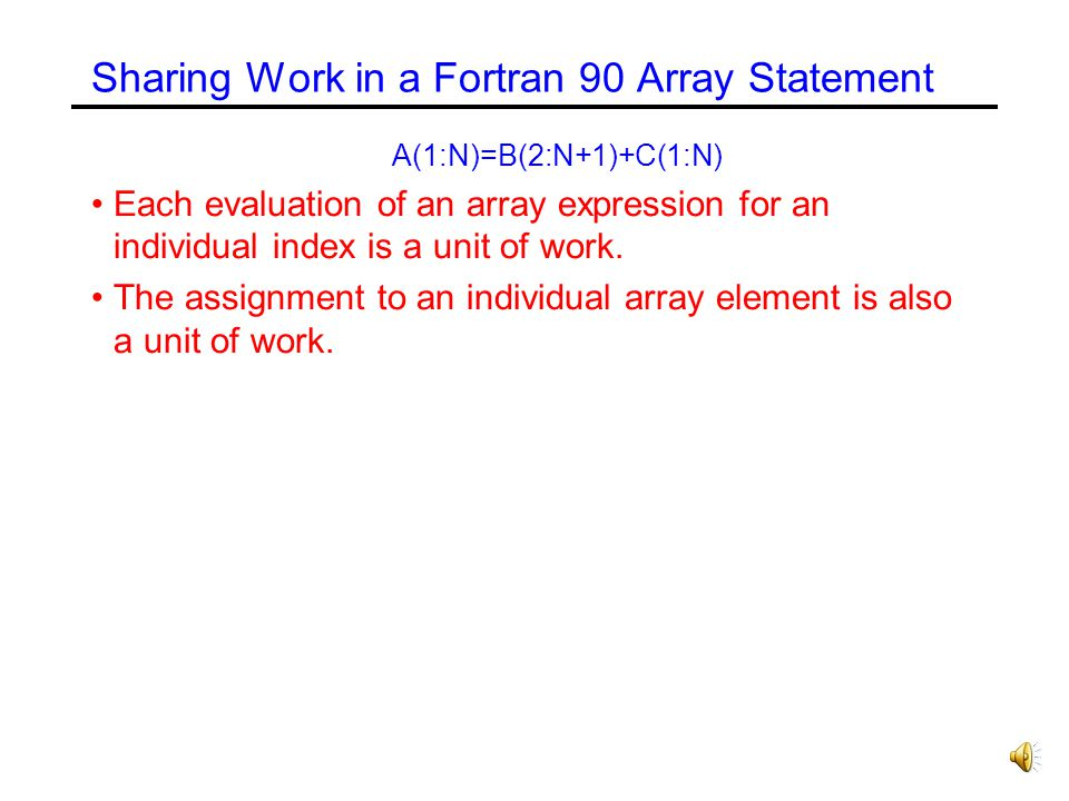 Sharing Work in a Fortran 90 Array Statement