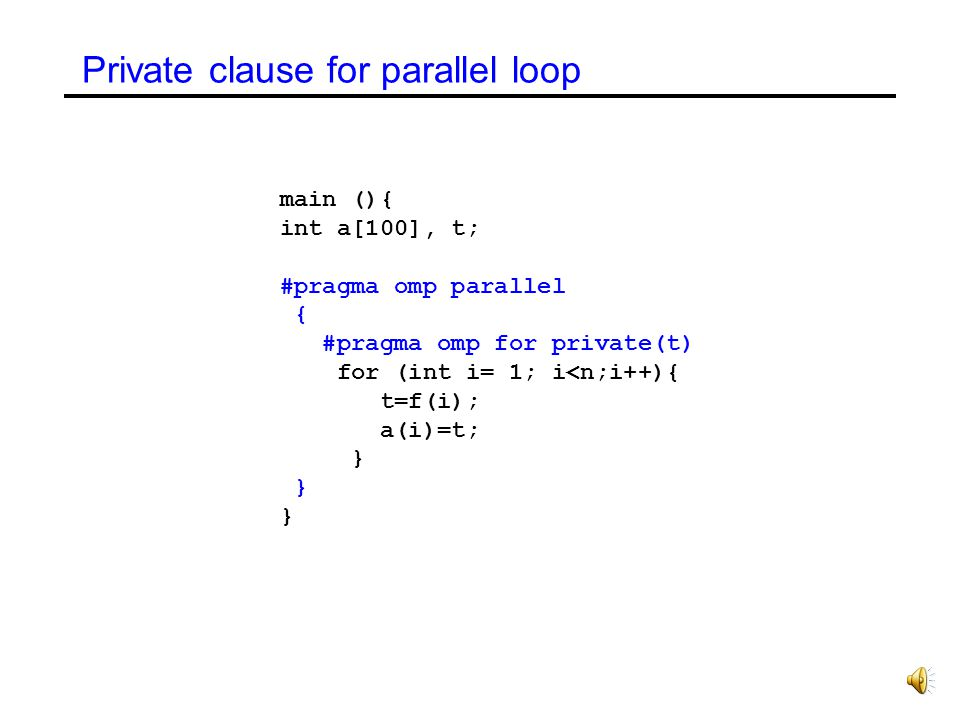 Private clause for parallel loop