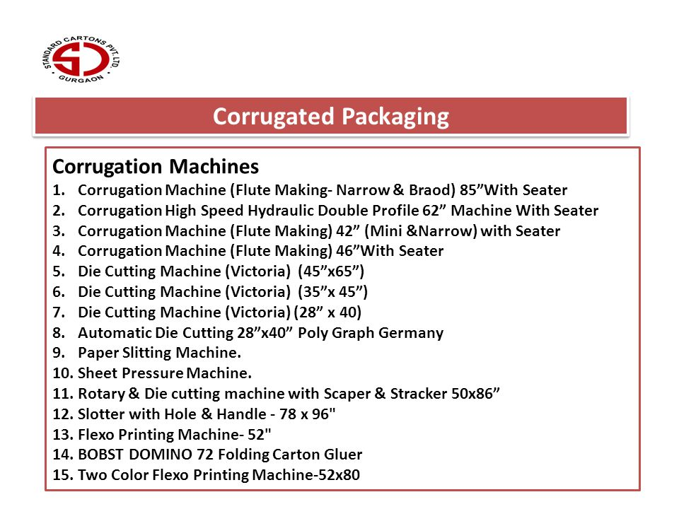 Corrugated Packaging Corrugation Machines