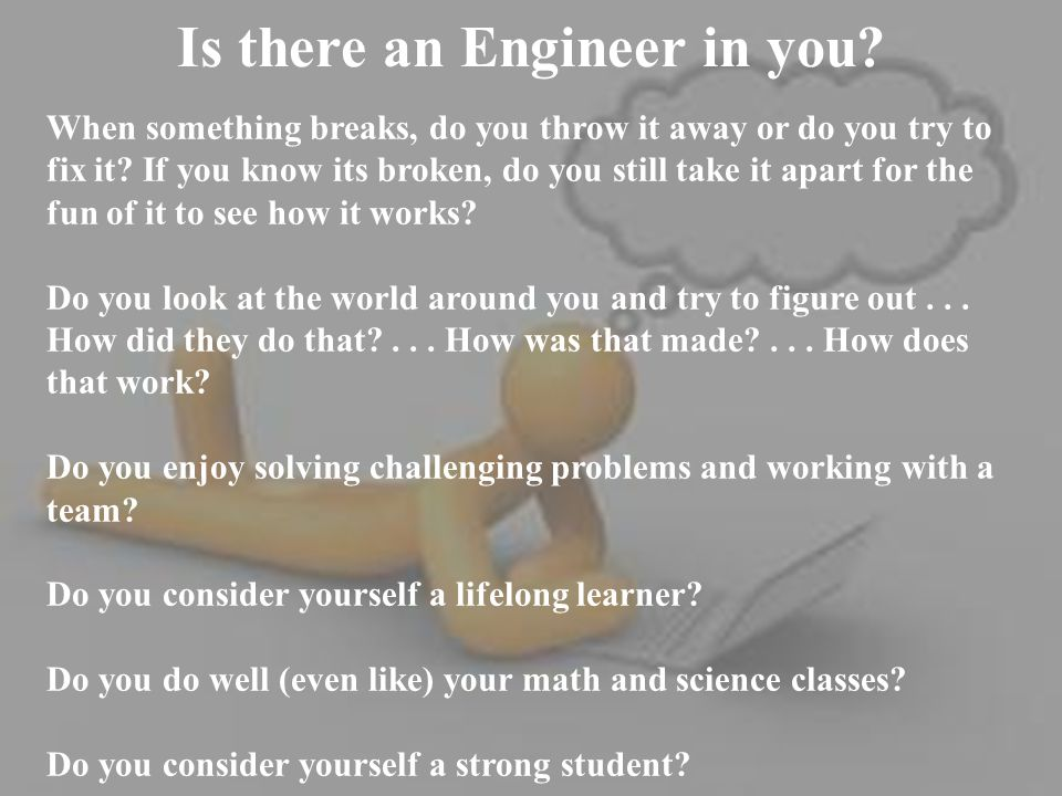 Is there an Engineer in you