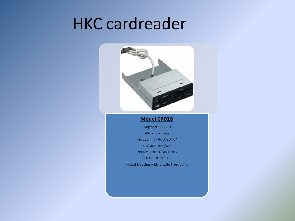 HKC cardreader Model CR01B -Support USB.2.0 -Retail packing