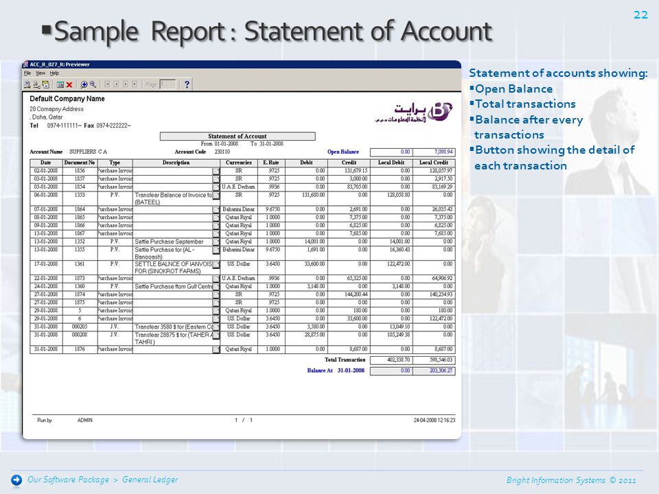 Sample Report : Statement of Account