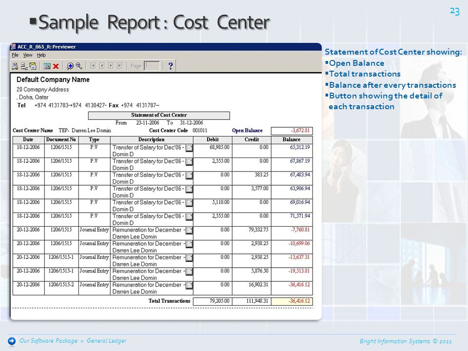 Sample Report : Cost Center