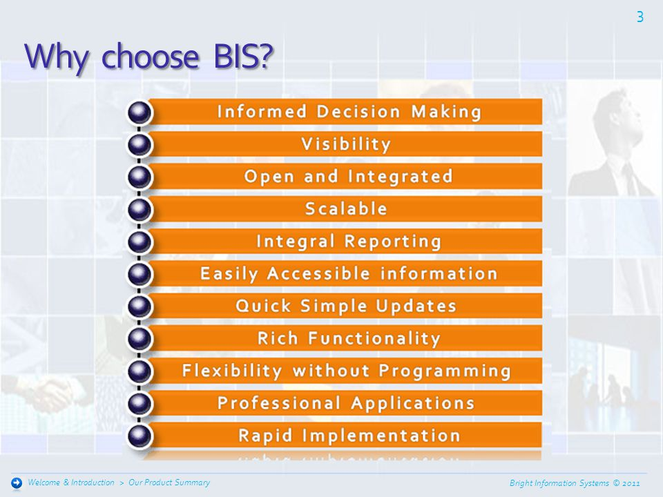 Why choose BIS Welcome & Introduction > Our Product Summary