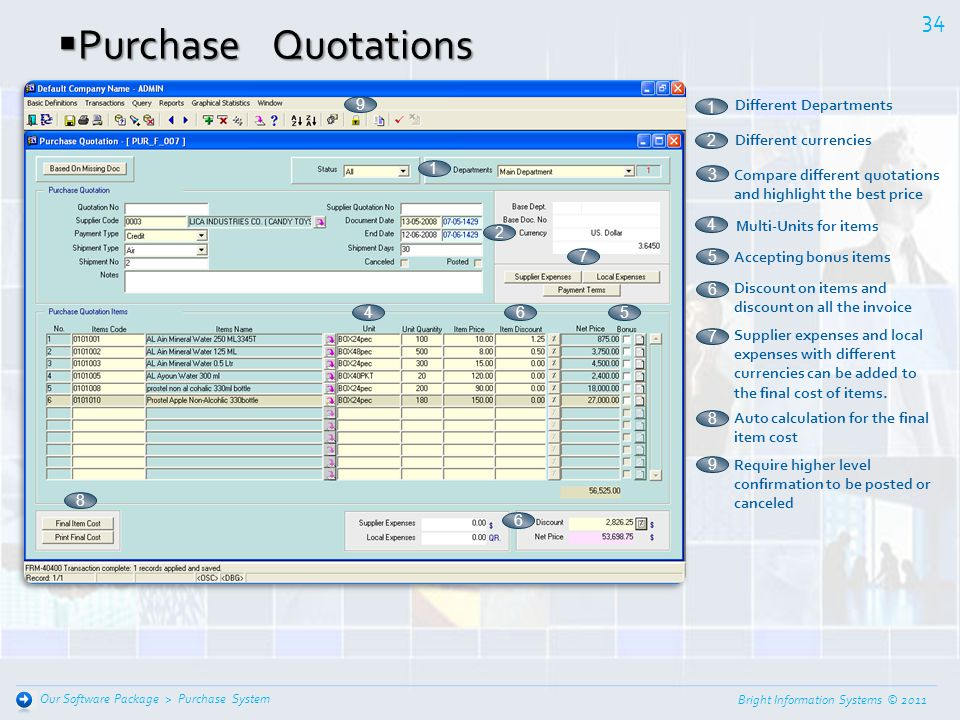 Purchase Quotations 9 Different Departments 1 Different currencies 2 1