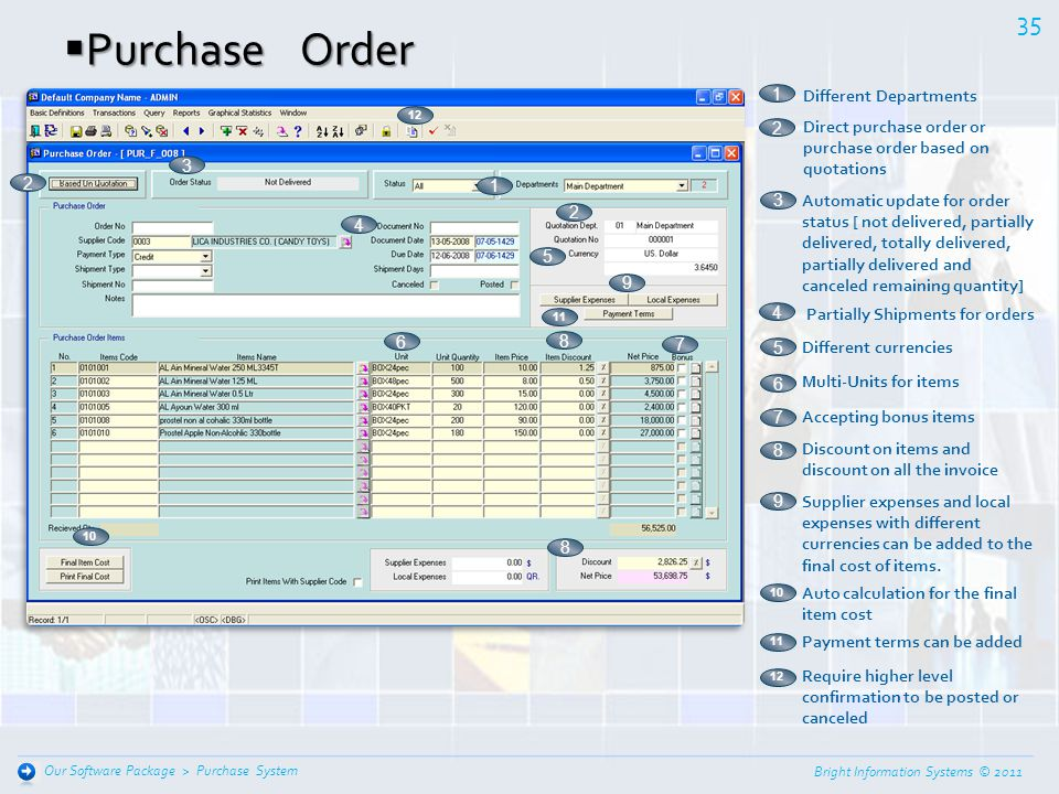 Purchase Order 1 Different Departments