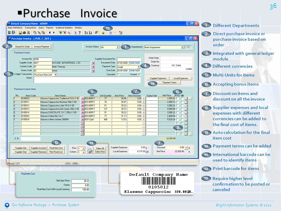 Purchase Invoice 1 Different Departments
