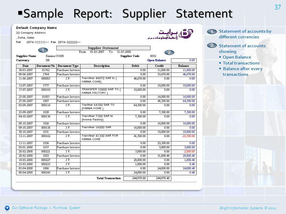 Sample Report: Supplier Statement