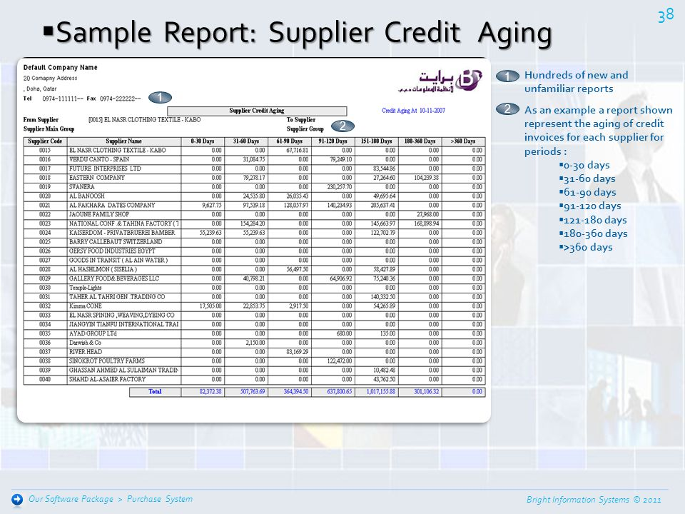 Sample Report: Supplier Credit Aging