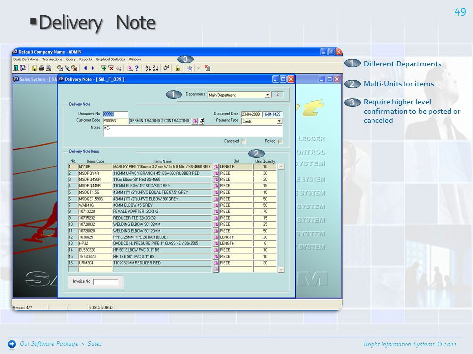 Delivery Note 3 1 Different Departments Multi-Units for items 2 1