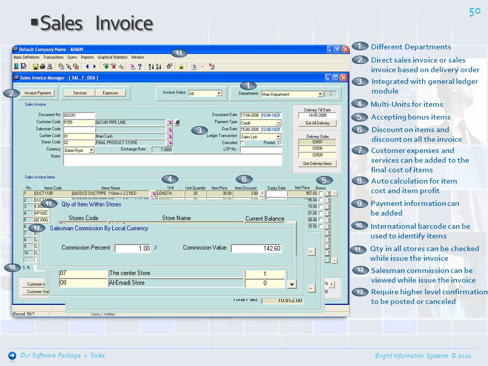 Sales Invoice 1 Different Departments